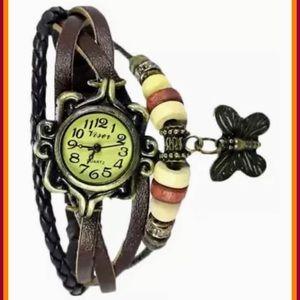 Viser Leather Bracelet Butterfly Wrist Watch